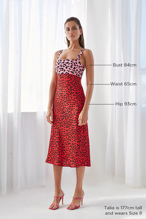 Splice Leopard Bias Midi Dress