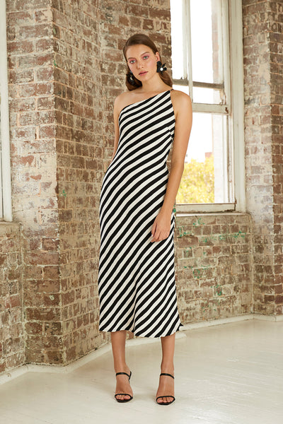 Piano Stripe Bias Midi Dress