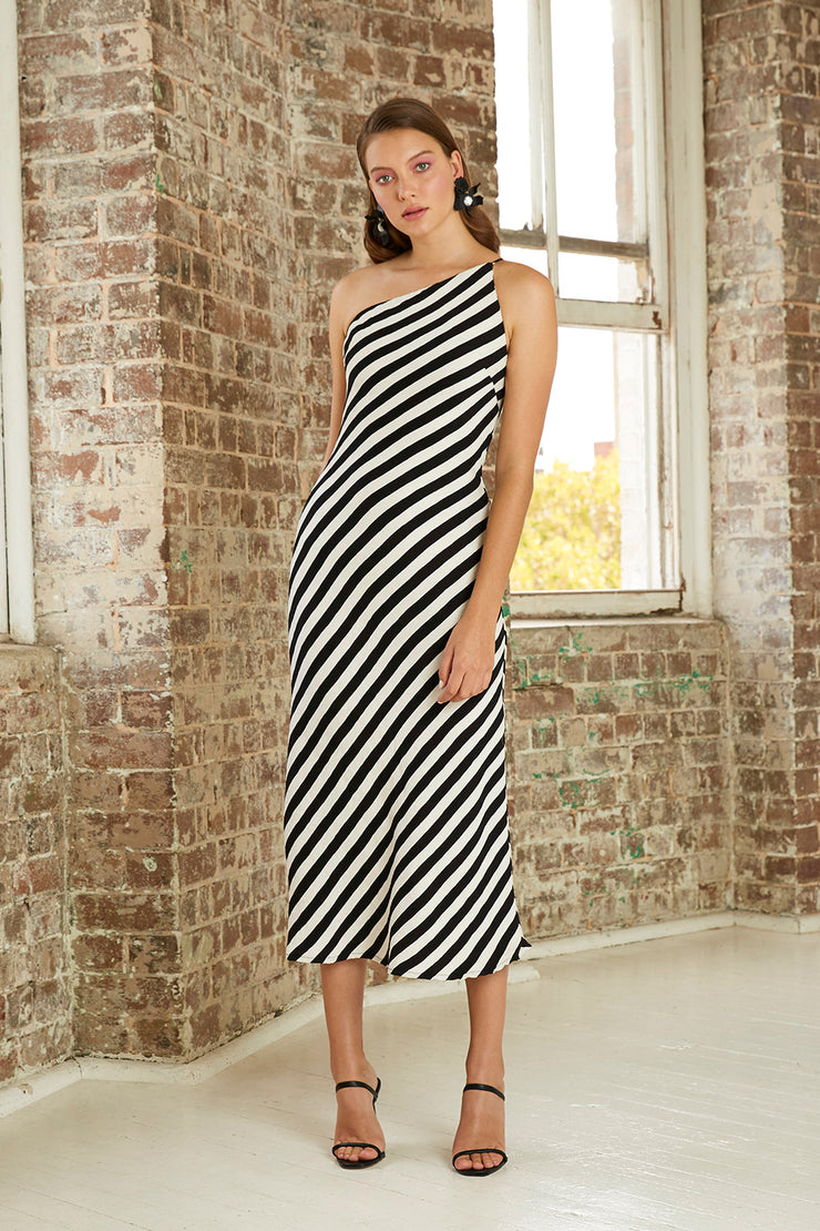 Piano Stripe Bias Midi Dress | Final Sale