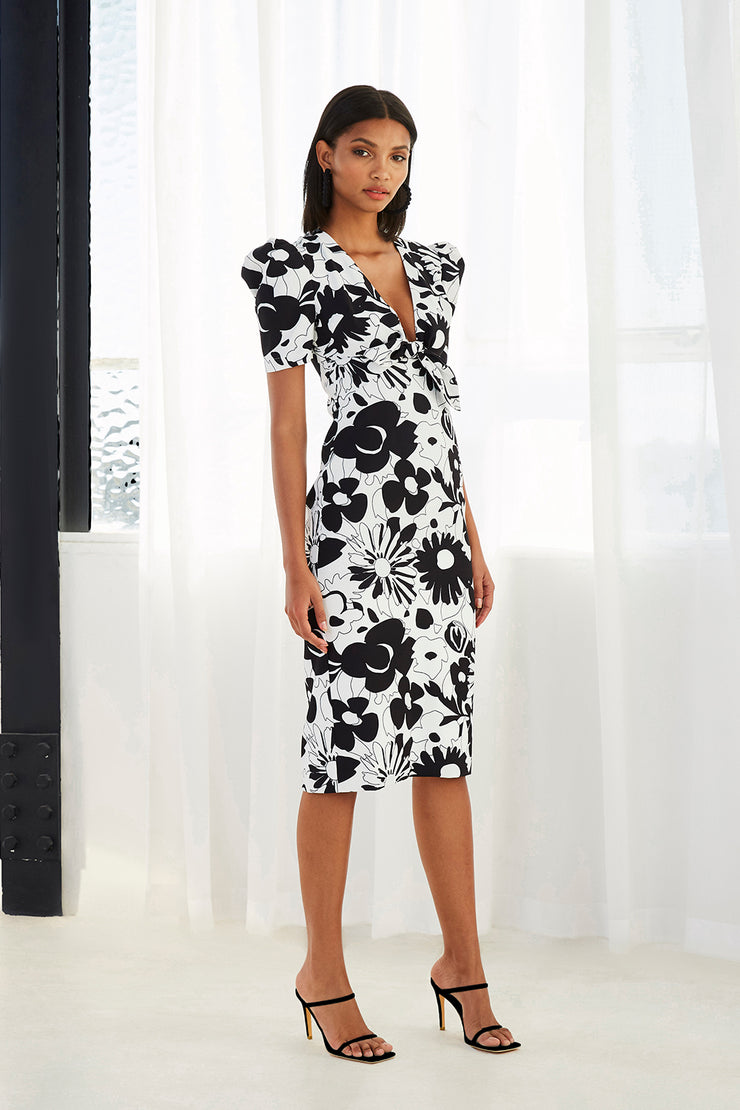Floral Tie Front Tee Dress