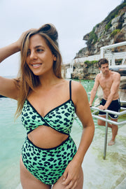 The Aria Open One Piece | Final Sale - Leopard Green
