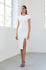 Double Rib Tee Midi Dress - White Rib