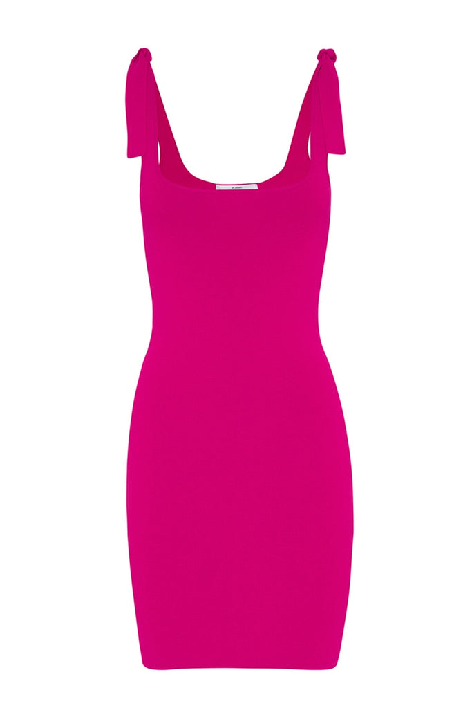 Tie Up Knit Mini Dress - Hot Pink