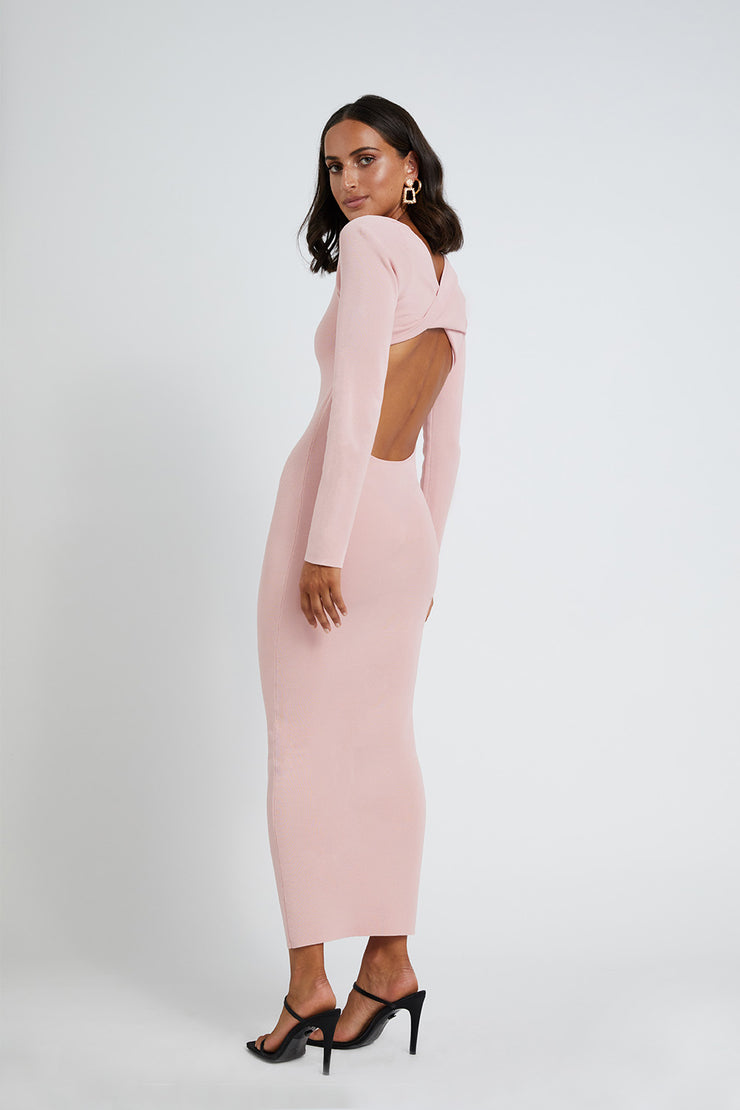 Tina Twist Scoop Back Knit - Soft Pink