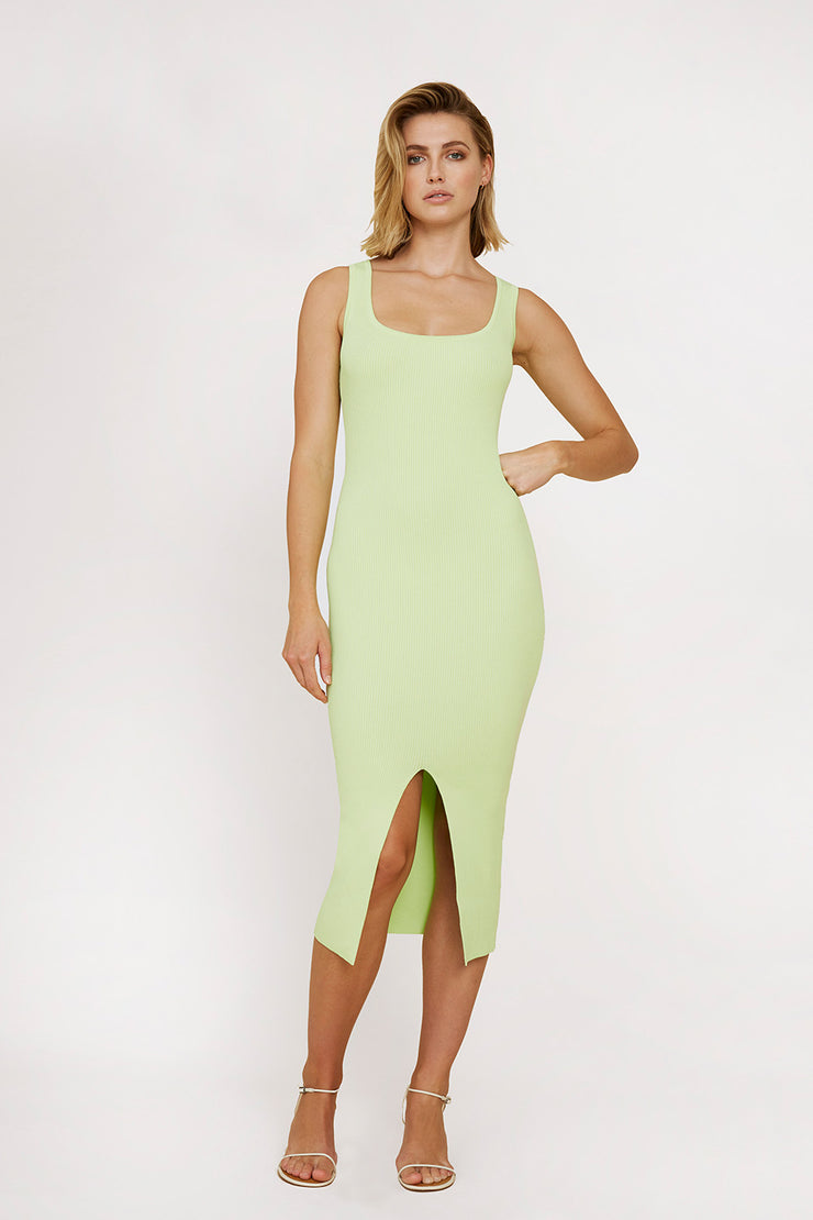 Alice Split Knit Dress - Lime