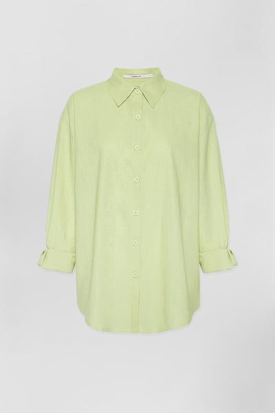 UNISEX LEO LINEN SHIRT - LIME | Final Sale