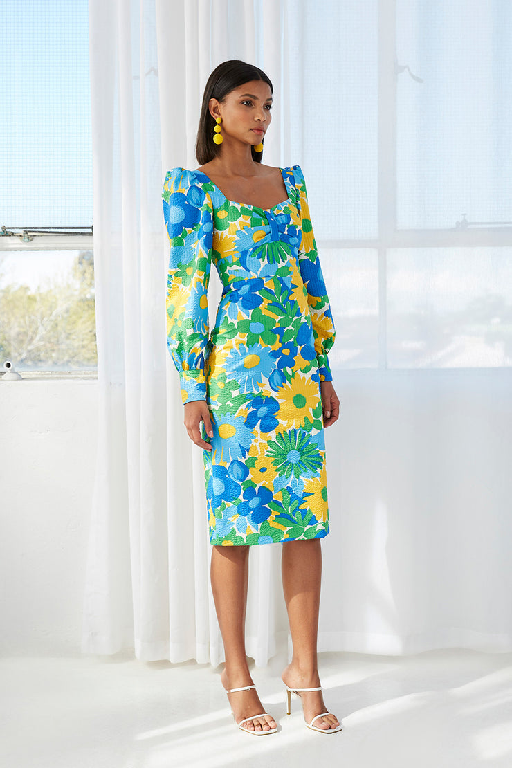Sunday Floral Cuff Sleeve Midi Dress | PRE-ORDER