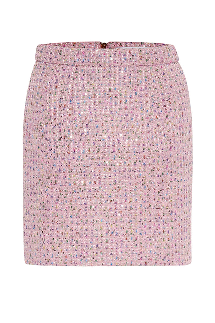 Zoe Tweed Mini Skirt - Pink Tweed