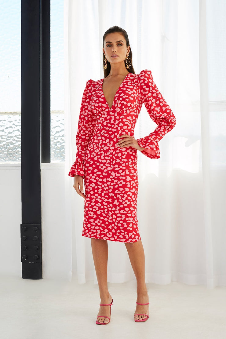 Strawberry Leopard Tulip Midi Dress | Final Sale