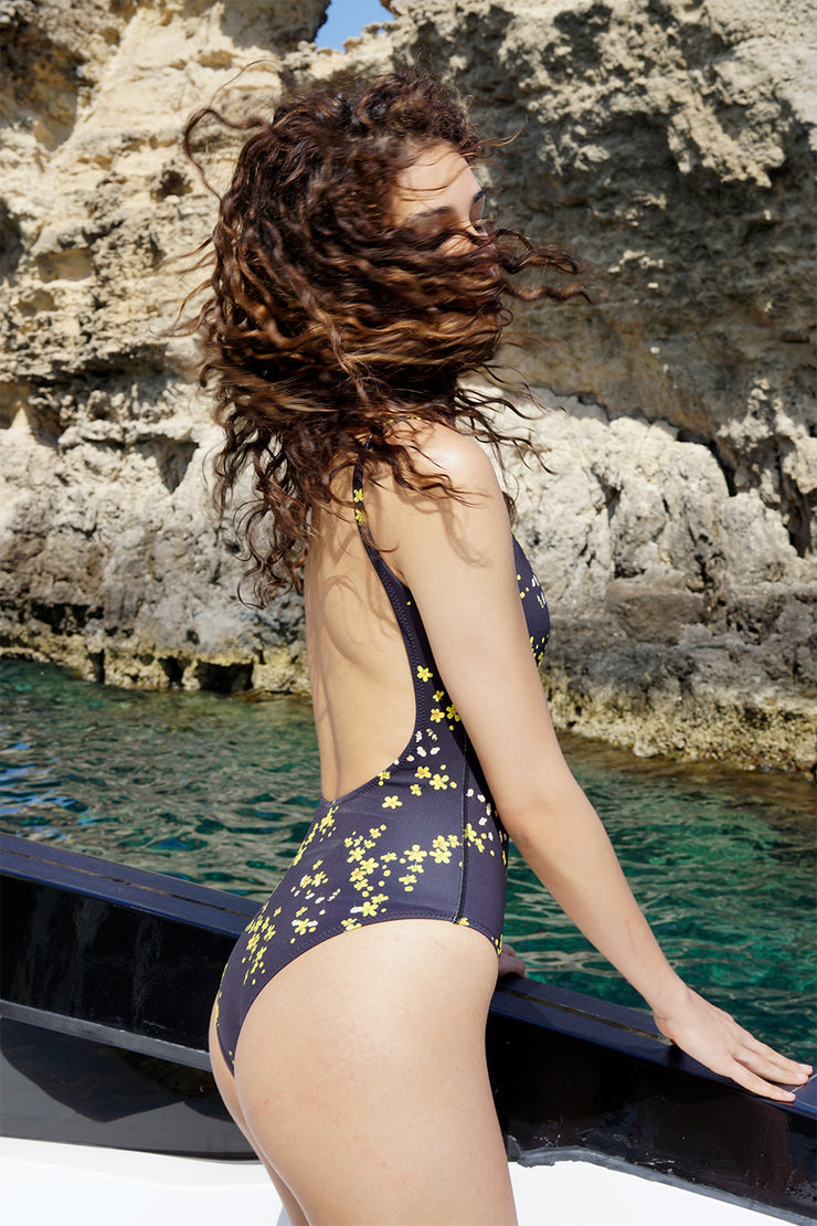 The Lani One Piece | Final Sale - Black Yellow Floral