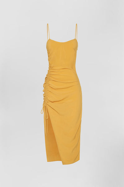 Simona Gather Split Midi - Mustard | Final Sale