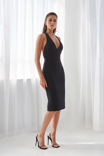 String T Back Plunge Midi Dress - Black