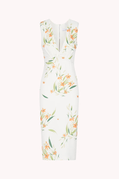 White Jungle Pleated Bust Midi Dress | Final Sale