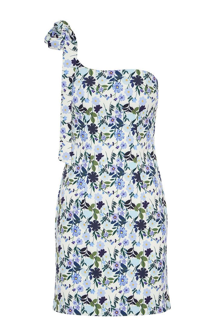 Sky Floral Lean Shoulder Mini Dress | Final Sale