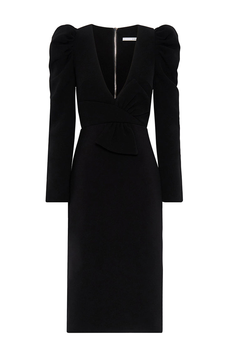 Whitney Bow Midi Dress - Black | Final Sale