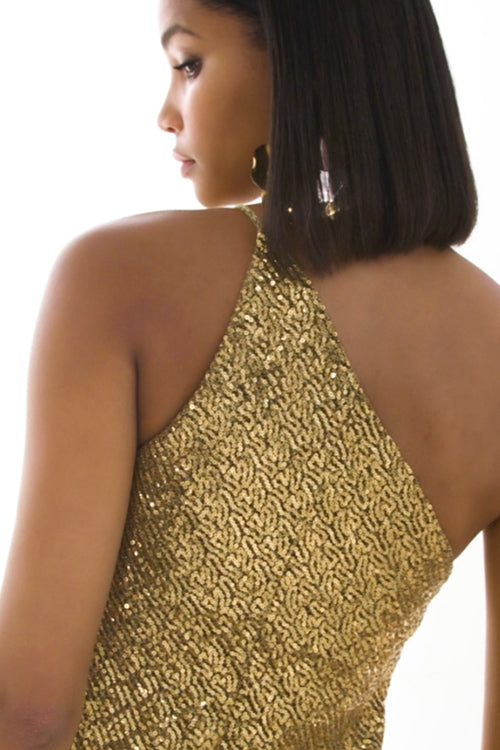 Gold Girl Asymmetric Bias Dress | Final Sale