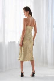 Gold Foil Bias Slip Midi Dress | Final Sale