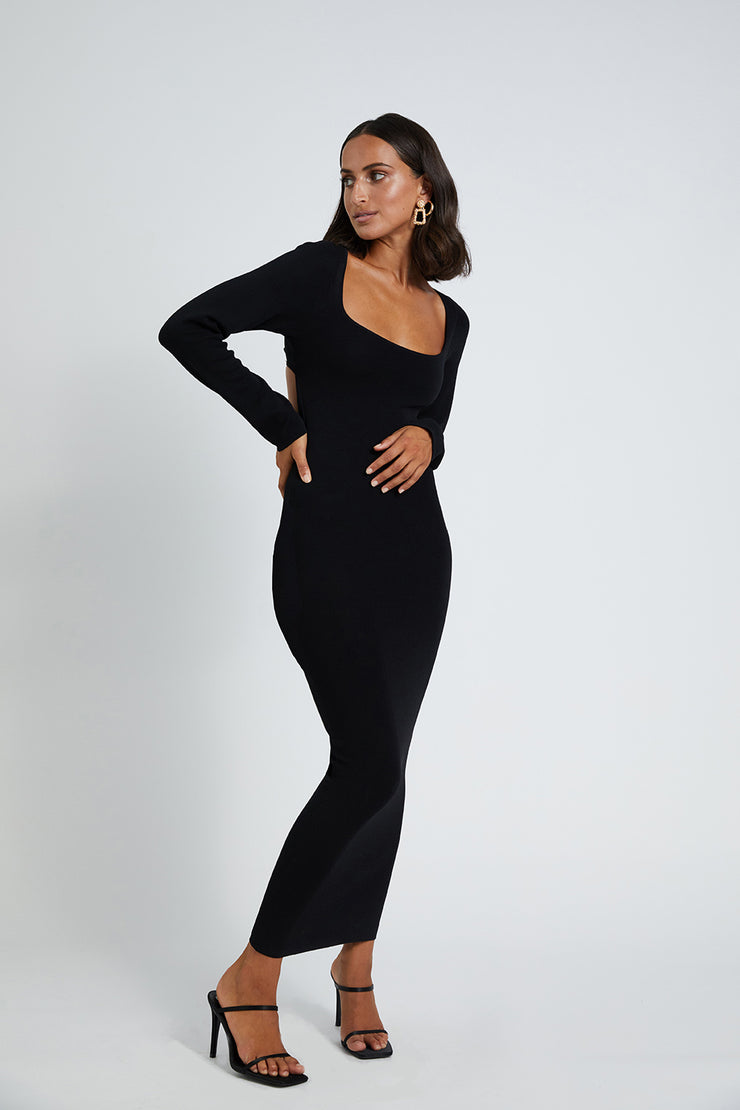 Tina Twist Scoop Back Knit - Black