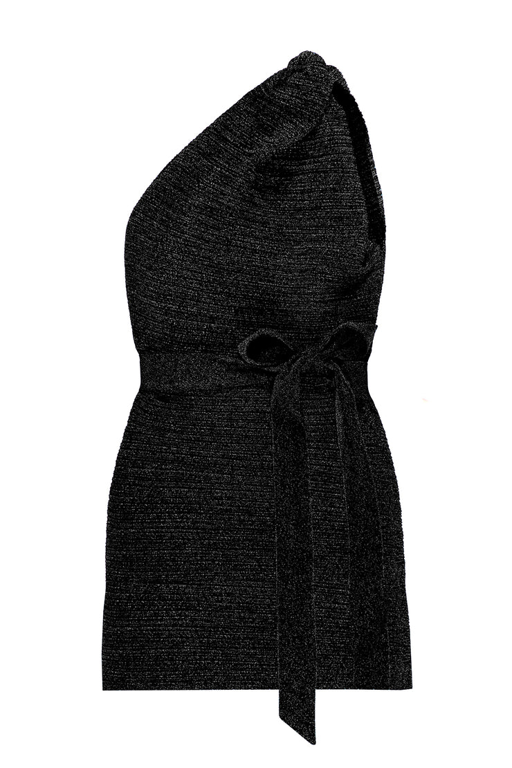 Knot Now One Shoulder Mini Dress - Black