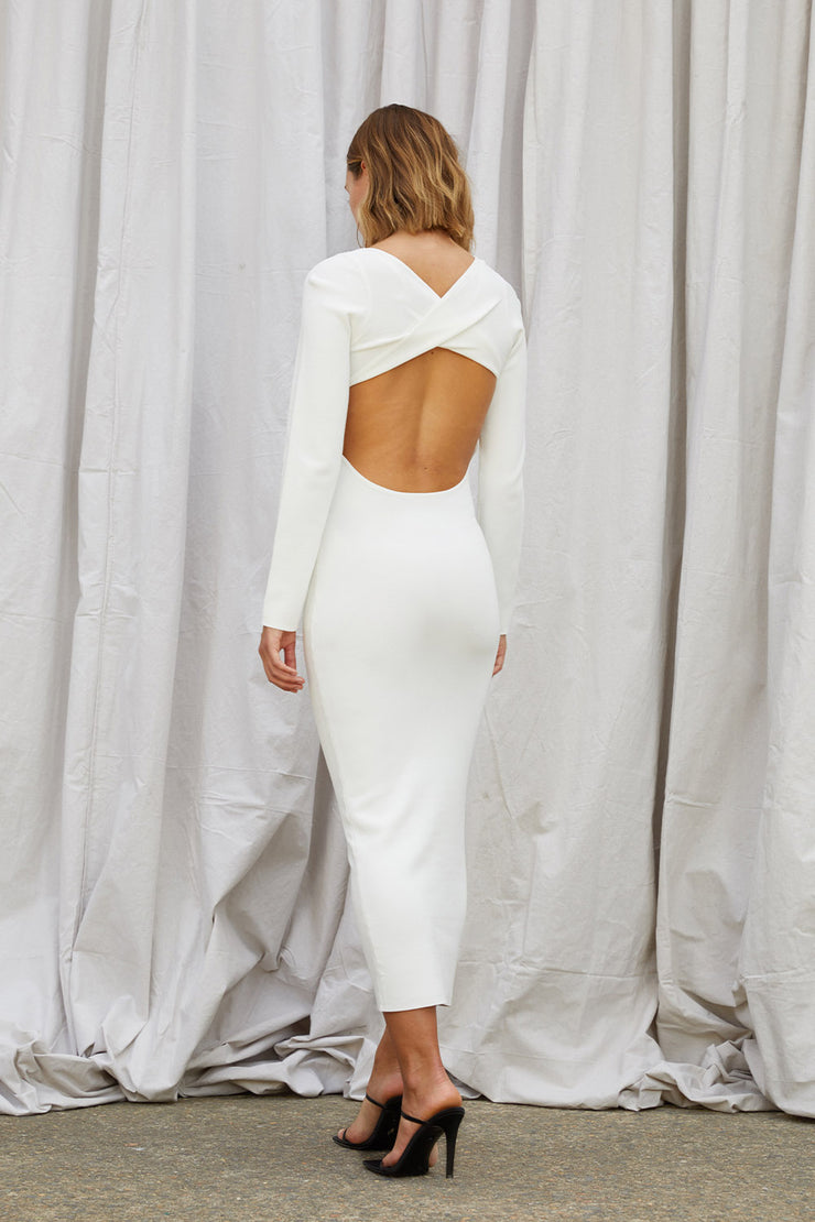 Tina Twist Scoop Back Knit - White
