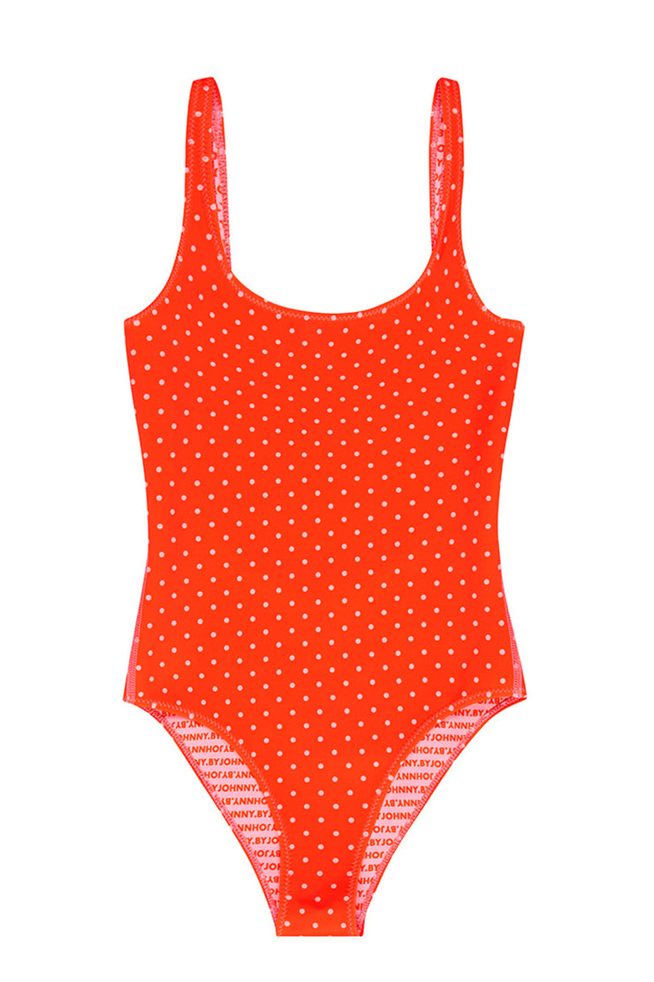 The Lani One Piece | Final Sale - Tangerine Polka