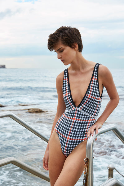 The Plunge One Piece | Final Sale - Houndstooth