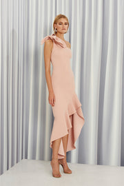 Tie Shoulder Wave Gown - Dusty Rose