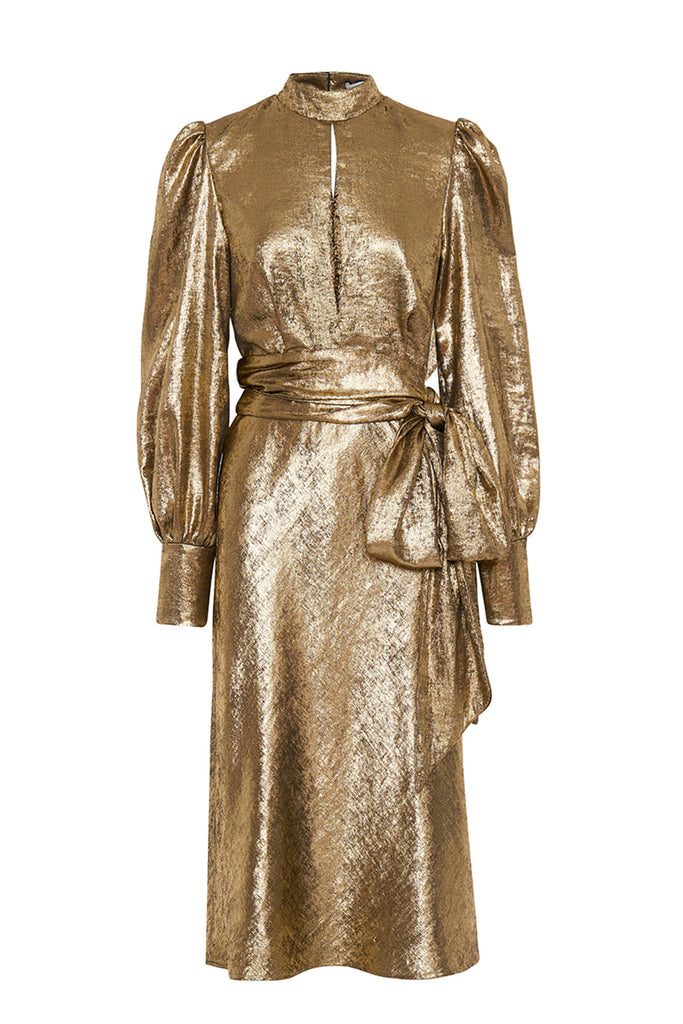 Gold Foil Cuffed Midi Dress