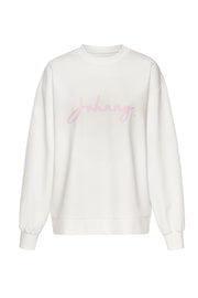 Unisex Signature Crew Sweat - White Pink