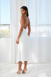 Mia Cross Back Bias Midi Dress