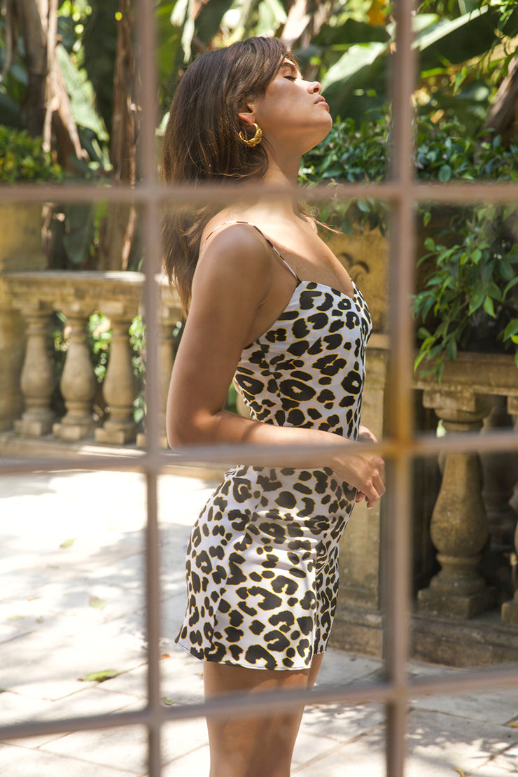 Leopard Bias Mini Dress | Final Sale
