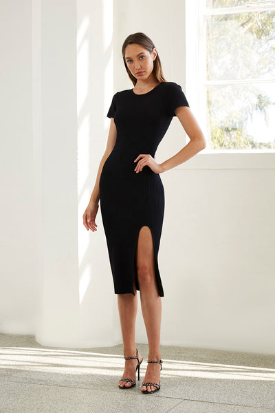 Double Rib Tee Midi Dress - Black Rib