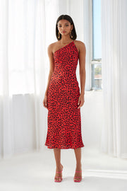 Ruby Leopard Asymmetric Bias Dress