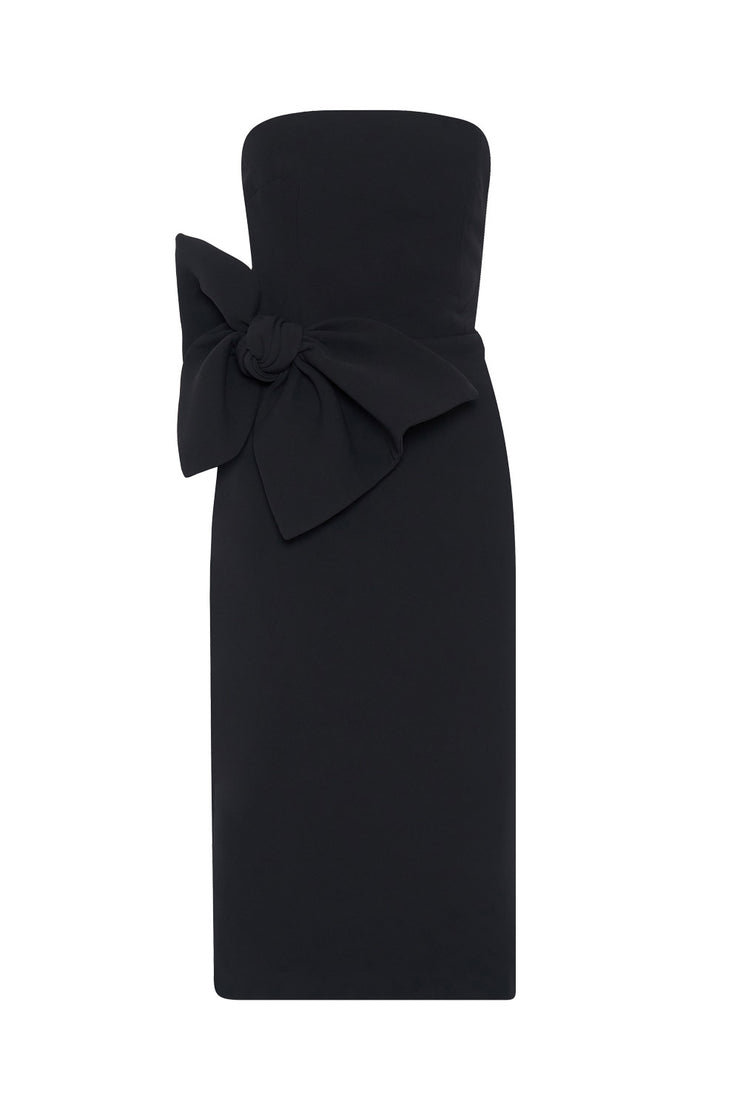 Bow Tie Strapless Dress - Black