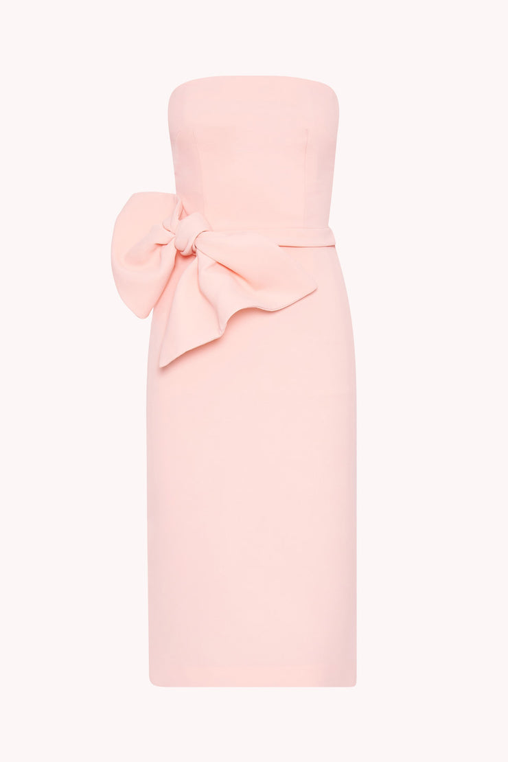 Bow Tie Strapless Dress - Soft Pink
