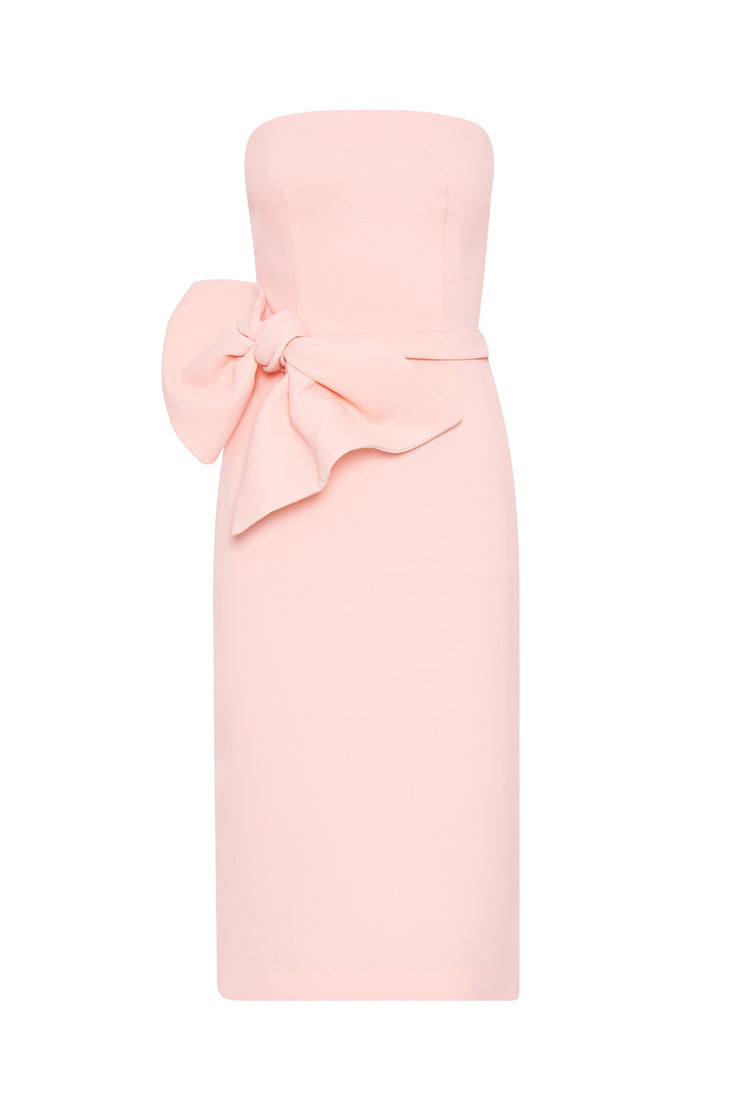 Bow Tie Strapless Dress | Final Sale - Soft Pink