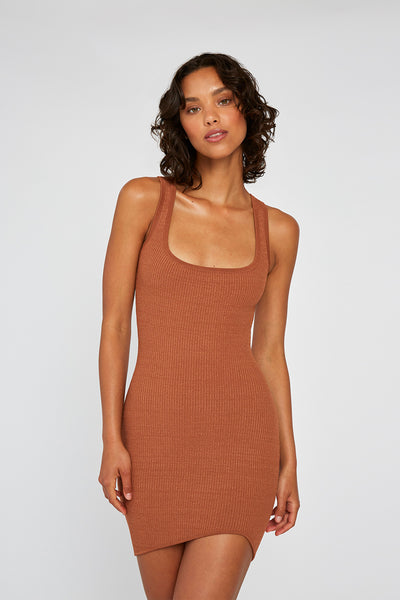 Grain Curve Knit Mini - Brown