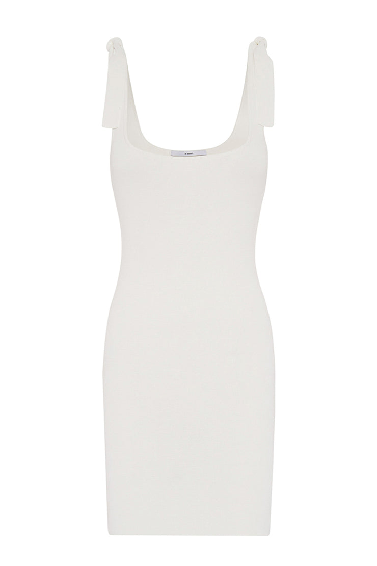 Tie Up Knit Mini Dress | Final Sale - White