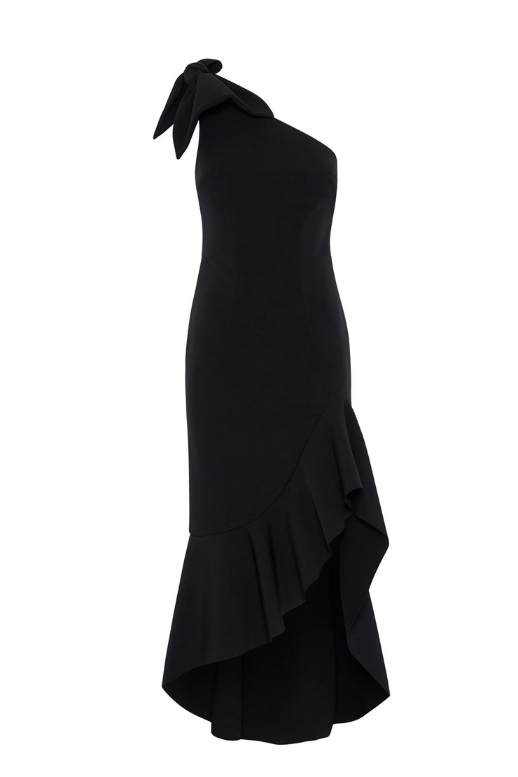 Tie Shoulder Wave Gown - Black