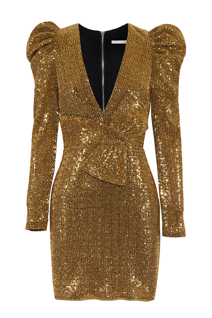 Gold Girl Bow Mini Dress | Final Sale