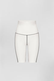 Ponte Bike Shorts - White Black | Final Sale