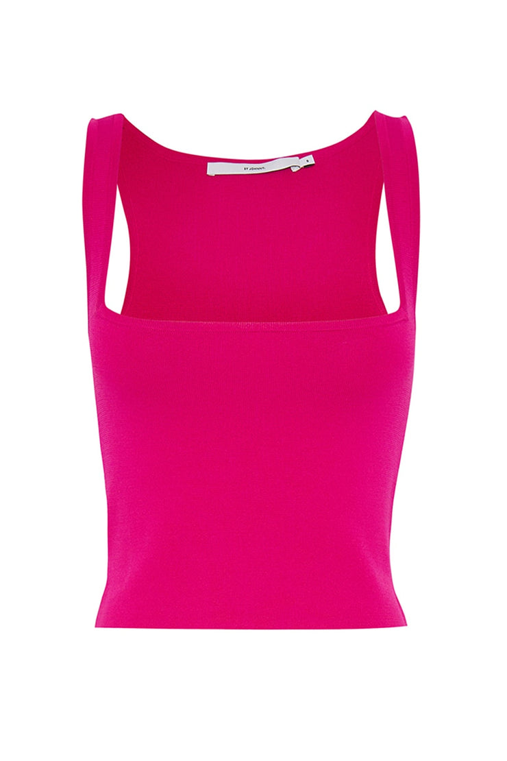 Square Knit Crop Cami - Berry Pink
