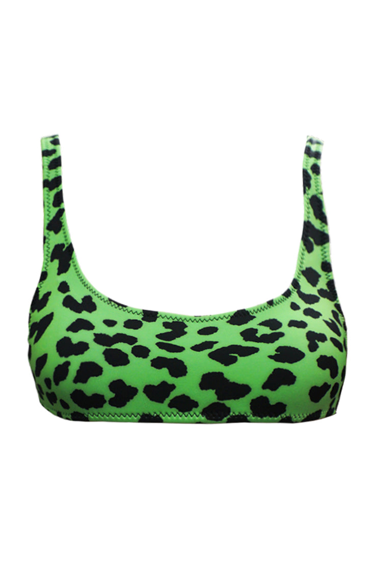 The Archie Sports Top - Green Leopard