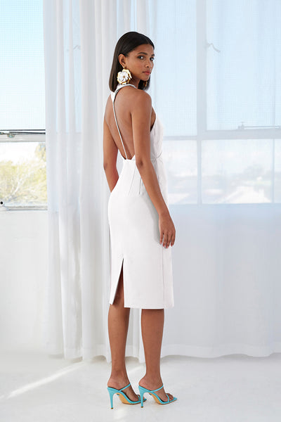 String T Back Plunge Midi Dress - White