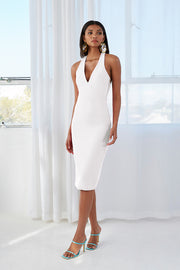 String T Back Plunge Midi Dress | Final Sale - White