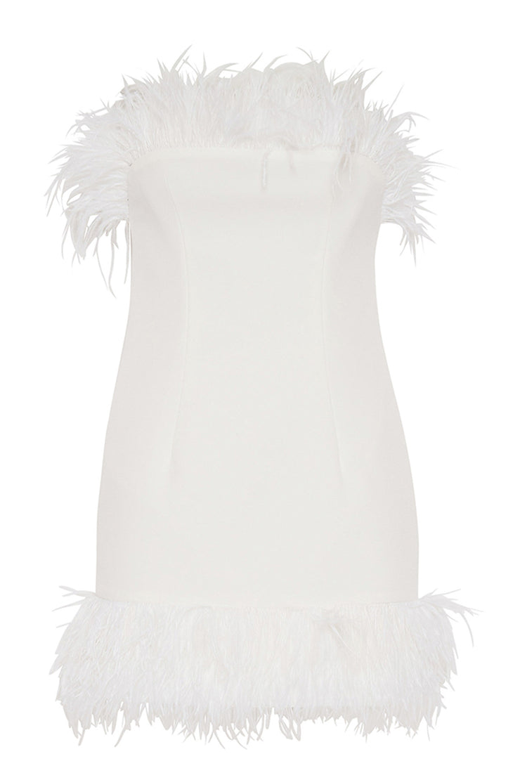 Johnny Feather Mini Dress - White