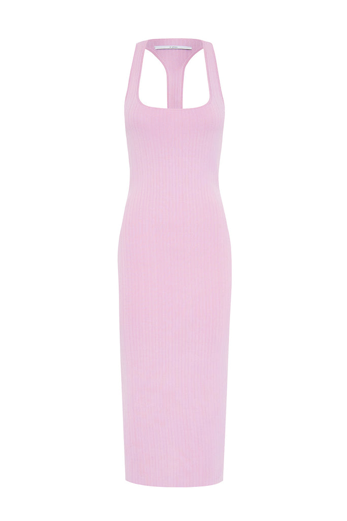 PRE ORDER | T Bar Rib Midi Dress - Lilac