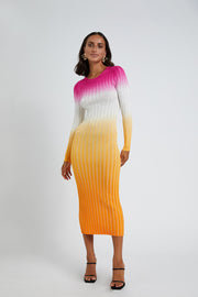 Fuschia Sunrise Ribbed Midi Dress