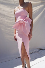 Bow Tie Strapless Dress - Light Pink