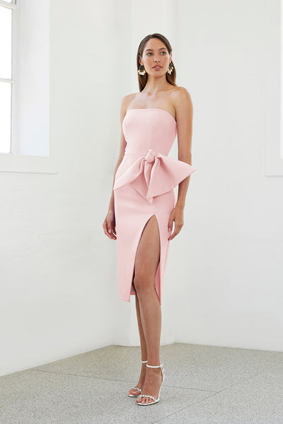 Bow Tie Strapless Dress - Light Pink | Final Sale